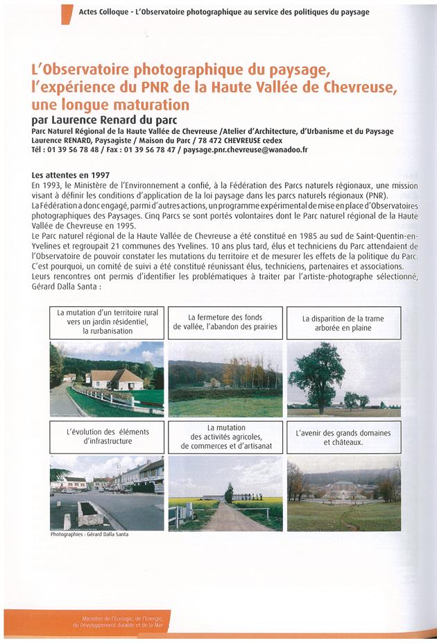 Article sur l'Observatoire photographique des paysages